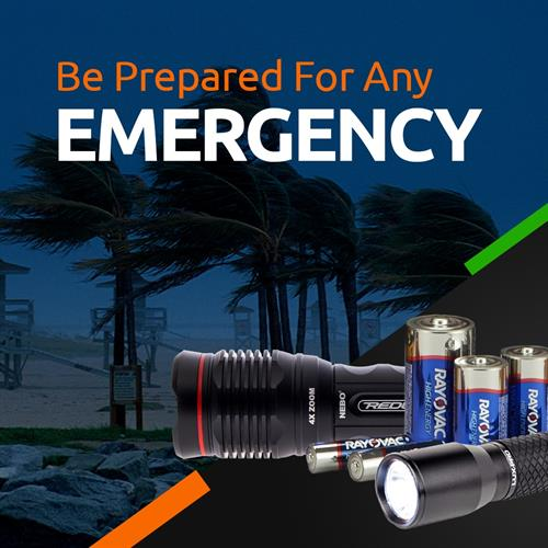 Batteries, battery backups and flashlights for emergencies