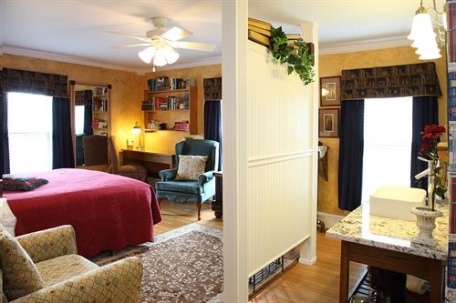 Library Room in Main House on second floor. Rate starts at $145 with breakfast.