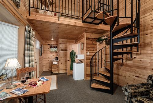 Pinewood Room in the Guest Lodge. Seasonal lodging April through October only. Rate starts at $125 with in-room contiental breakfast.t