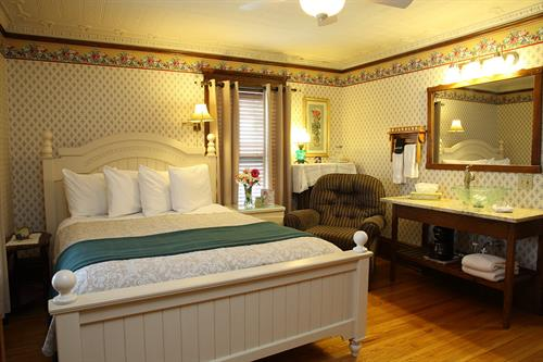 Rose Room with Queen Bed. second floor loaction. All our rooms have Private Baths. Rate starts at $135 with breakfast.