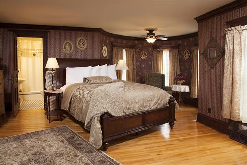 Tower Room on second floor of Main House. Rate starts at $179 with breakfast. Visit our web site - westbyhouse.com