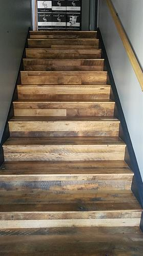 Skip Planed Flooring Installed on Steps in a Japanese Restaurant in Maine