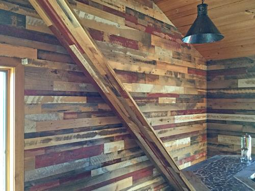 Reclaimed Wood Accent Wall in Log home loft near Tomah, WI