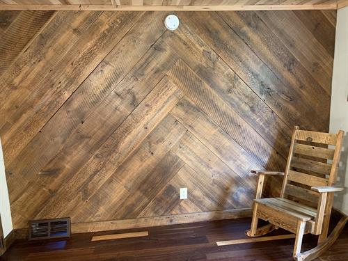 Herringbone Pattern Accent Wall made from Reclaimed wide barn boards