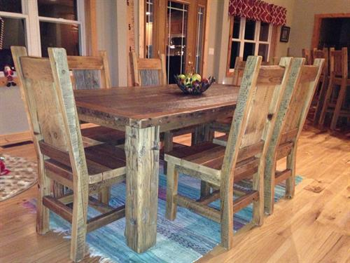 Rustic Table & Chair Set in a Gilman, WI Home.
