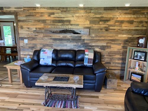 Skip Planed Brown/Grey Mix Accent Wall & Center Cut Mixed Species Floor