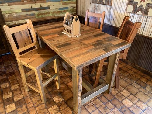 Pub Table & Stools made from reclaimed barn wood