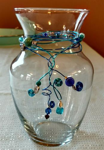 Wire wrapped and beaded glassware
