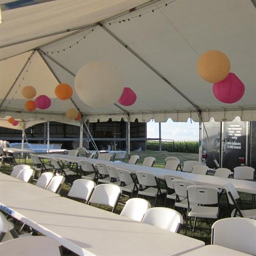 Our expansive property has plenty of room for tents to accommodate larger parties!