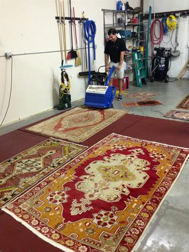 The Rug Duster hard at work! You would be shocked to see what is actually in YOUR rugs (even after vacuuming)