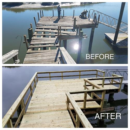 "Dock ""facelift"" with new structural supports"