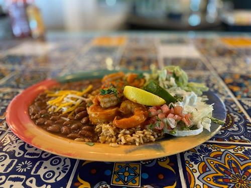 One of our fantastic $7.99 lunch deals! We call this one the Shrimp Diablo!