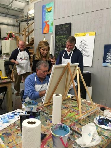Paint Parties are perfect for Corporate team building events. Choose your location or our warehouse for off site experience.