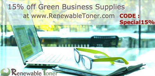 Enter Special15% upon Checkout at RenewableToner.com