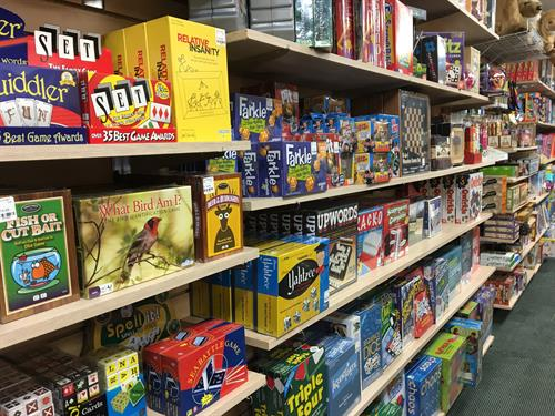 Toy store features games for all ages, kids, tweens, teens and adults