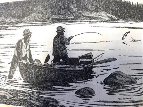 Hennessy Drawing of Atlantic Salmon Fishing