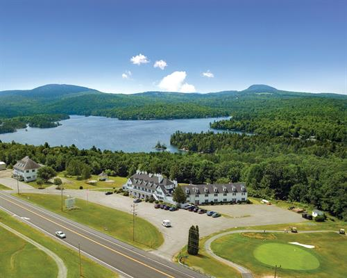 Aerial view of Phillips Lake and the Inn