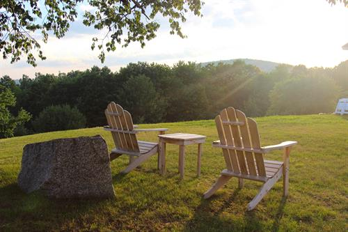 Adirondack chairs on the lawn