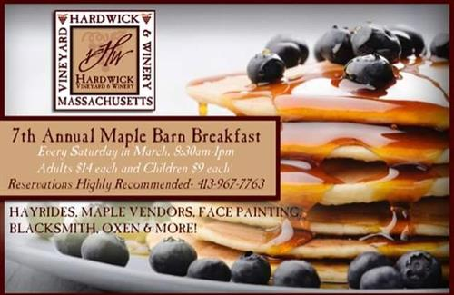 Every Saturday in March and the first Saturday in April we hold our annual Maple Barn Breakfast at the Winery. Come enjoy a Maple Mimosa, Bacon Bloody Mary, glass of our limited release Harvest Maple wine, or a glass of our other award winning wines. Call the winery at 967-7763 to make your reservation.