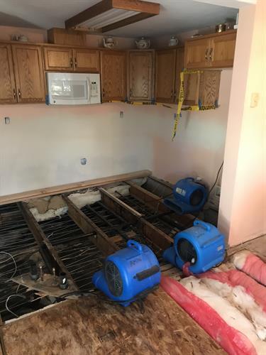 Water Mitigation in Kitchen