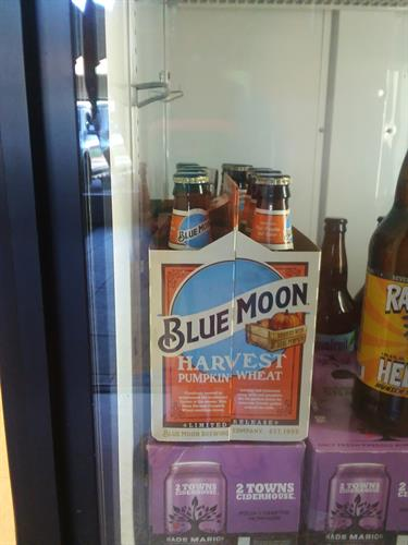 We now have blue moon harvest pumpkin wheat