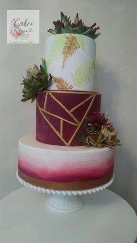 Sugar paste Succulents on fondant designed wedding cake