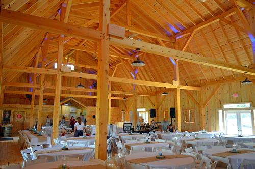 Inside of barn.  Seating for 250 people.