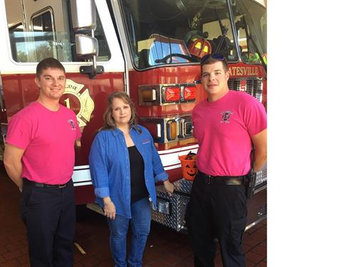 Donna visiting our friends at the local fire department