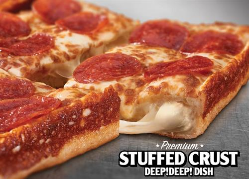 Our $10 Deep Deep Dish Pizza with an amazing cheese stuffed crust!