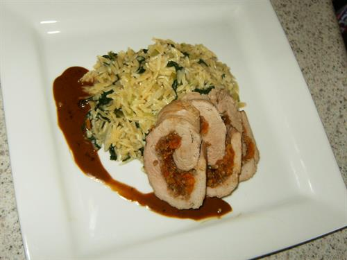 Apricot Stuffed Tenderloin with Bourbon Molasses Sauce; Orzo with Spinach and Asiago