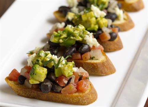 Black Bean, Avocado and Tomato Crostini