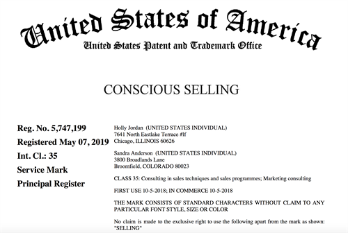 Conscious Selling™ Trademarked!