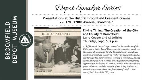 Event - Divine Timing: The Creation of the City and County of Broomfield