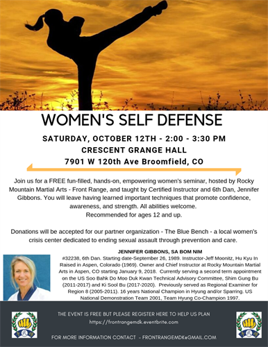 Community based women's self-defense series.