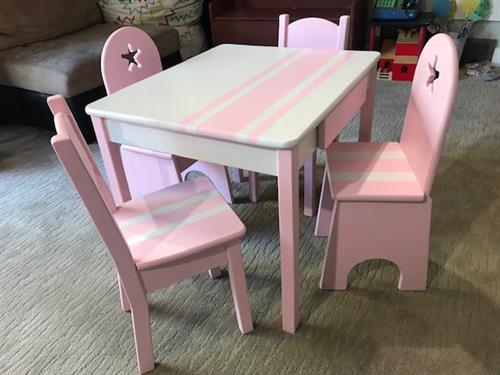 Children's table and chairs finished using Dixie Belle Chalk Mineral paints