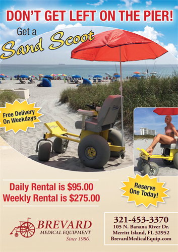 Summers Almost Here!! Time To Get Out On The Beach!! Don't Get Stuck On The Pier!! Don't Let Anything Hold You Back!! We Aime To Please and are here for All Your Needs!! Here Local in Merrit Island on the corner of 520 and North Banana. Free delivery on Beach Scooters on Weekends.