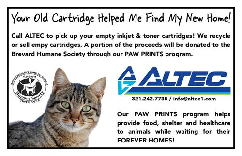 We donate to the Brevard Human Society through our Paw Prints Program when we recycle your old toner cores.
