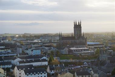 Ariel view of Kilkenny from the top of the 9th Century Round Tower at St. Canice.
