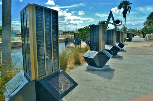Space View Park Honors Space Workers on Pylons with Name Plaques