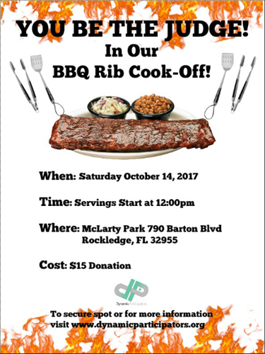 Our flyer for Dynamic Participators 1st ever event and also the First Annual Dynamic Rib Cook-Off