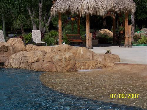 "Lazy River into ""Beach"" entrance of pool"