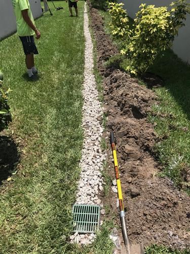 Completion of french-drain system