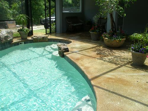 (AFTER)....Pool Renovation - Completed Acid-stained sealed deck finish