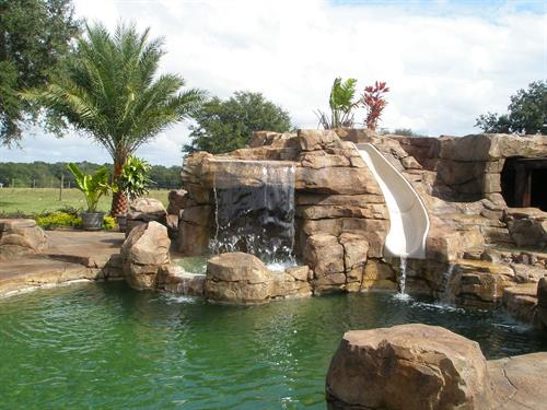 Custom Rock Water feature with Rock Water Slide