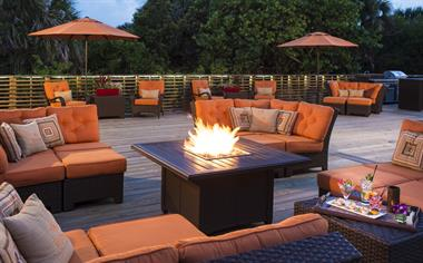 Firepits on the oceanfront deck