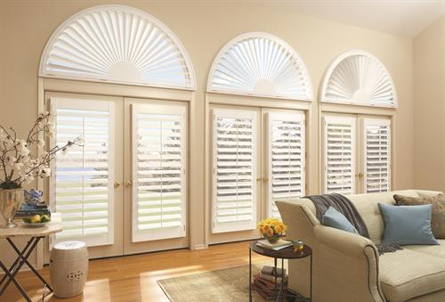 Heritance Shutters by HunterDouglas on french doors and arches