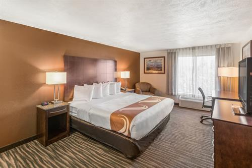 Business and leisure guests enjoy Serta Elite beds, fridge and microwave, large flat panel HDTV, well lit desk, and free high-speed Wi-Fi!
