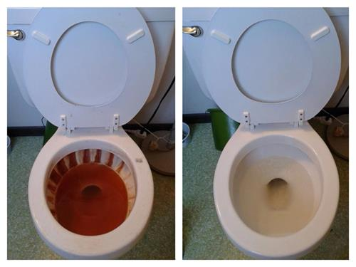 Toilet rust stains before and after