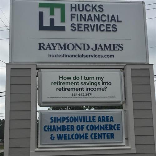 Hucks Financial Services Sign