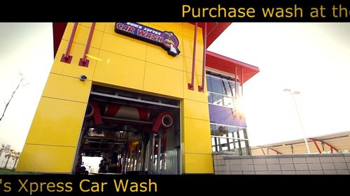 Car wash advertisement for pay at the pump screens